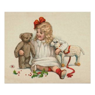 Girl with Teddy and Lamb