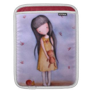 Girl with Teddy Bear Customizable iPad Sleeve