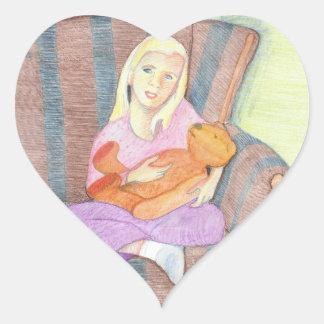 Girl with Teddy Bear Heart Stickers