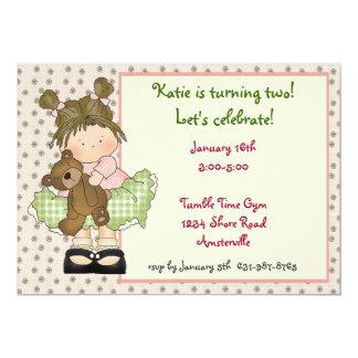 Girl With Teddy Bear Invitation