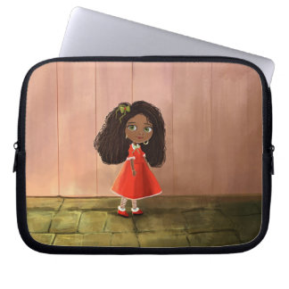 Girl with the curly hair laptop computer sleeve