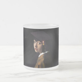 Girl with the Graduation Hat (Pearl Earring) 10 Oz Frosted Glass Coffee Mug