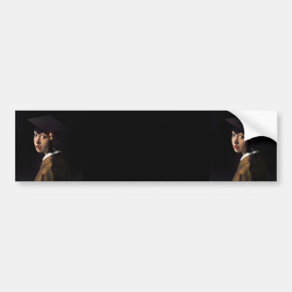 Girl with the Graduation Hat (Pearl Earring) Bumper Sticker