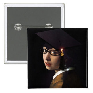 Girl with the Graduation Hat (Pearl Earring) Button