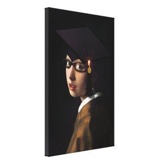 Girl with the Graduation Hat (Pearl Earring) Canvas Print