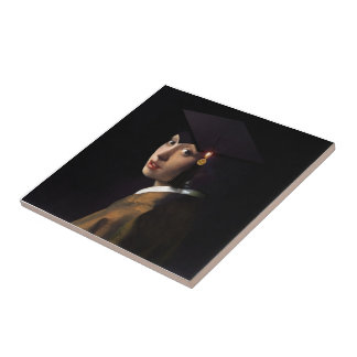 Girl with the Graduation Hat (Pearl Earring) Ceramic Tile