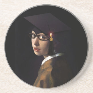 Girl with the Graduation Hat (Pearl Earring) Coaster