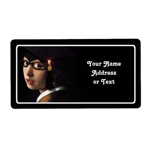 Girl with the Graduation Hat (Pearl Earring) Custom Shipping Label