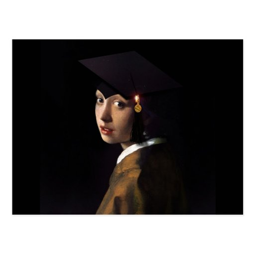 Girl with the Graduation Hat (Pearl Earring) Postcards