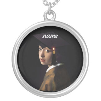Girl with the Graduation Hat (Pearl Earring) Round Pendant Necklace