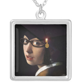 Girl with the Graduation Hat (Pearl Earring) Square Pendant Necklace