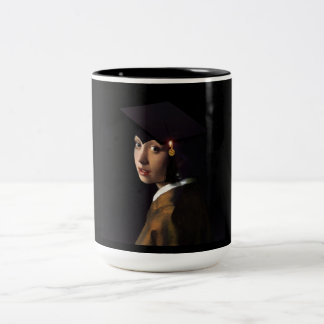 Girl with the Graduation Hat (Pearl Earring) Two-Tone Coffee Mug