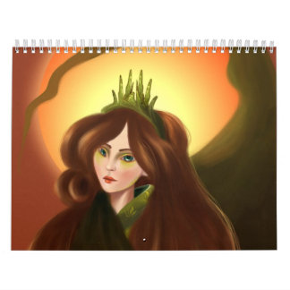 Girl with the Green Crown Wall Calendar