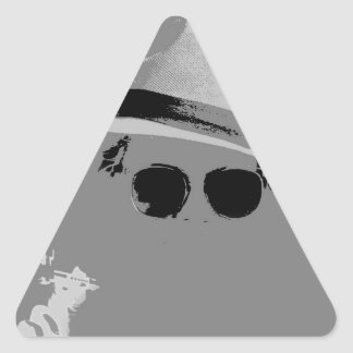 GIrl With The Hat & Shades Triangle Sticker