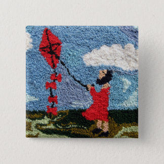 Girl With the Red Kite Pinback Button