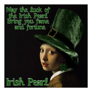 Girl With The Shamrock Earring - St Patrick's Day Poster