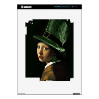 Girl With The Shamrock Earring - St Patrick's Day Decal For iPad 3