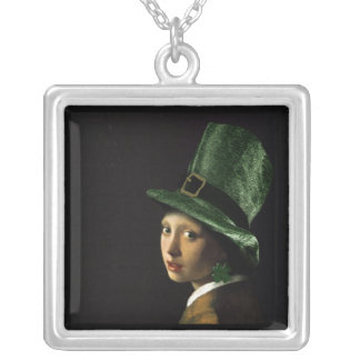 Girl With The Shamrock Earring - St Patrick's Day Square Pendant Necklace