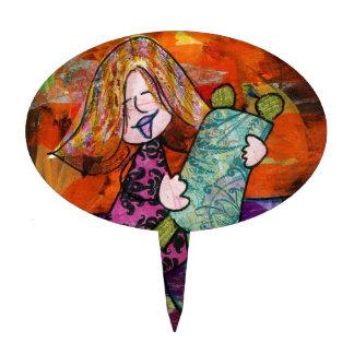 Girl with Torah Cake Topper