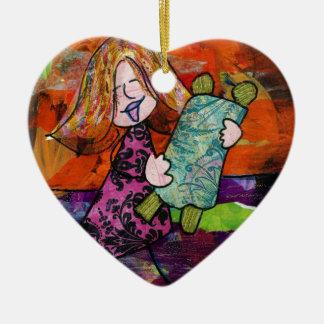 Girl with Torah Ceramic Ornament