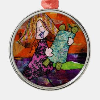 Girl with Torah Metal Ornament