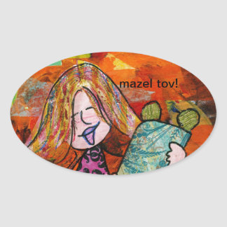 Girl with Torah Oval Sticker