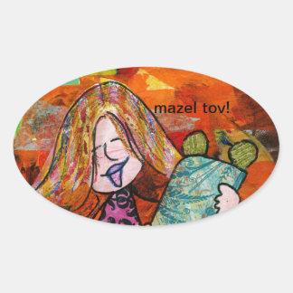 Girl with Torah Oval Sticker