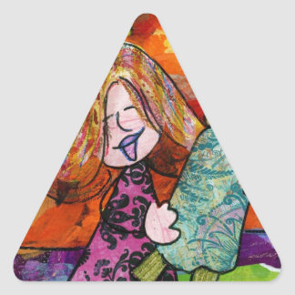 Girl with Torah Triangle Stickers