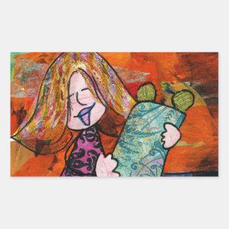 Girl with Torah Rectangular Stickers