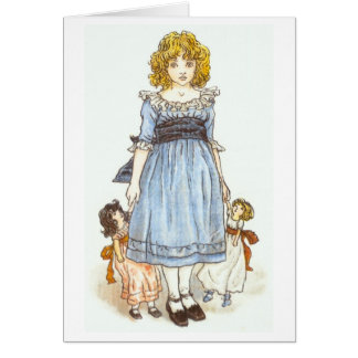 Girl With Two Dolls, Greeting Card