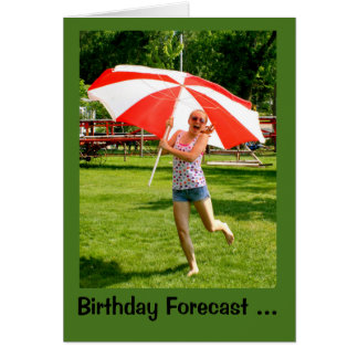 Girl With Umbrella 100% Chance Of Birthday Fun Card