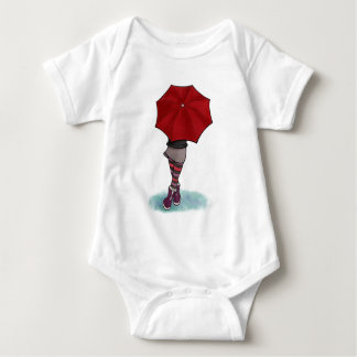 girl with umbrella baby bodysuit