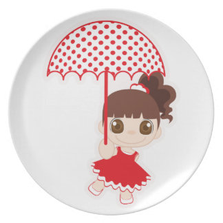 Girl with umbrella dinner plate