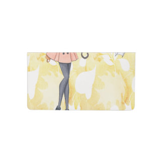 girl with umbrella - leaves background checkbook cover
