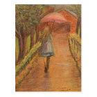 Girl with Umbrella Postcard