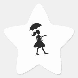 GIRL WITH UMBRELLA STAR STICKER