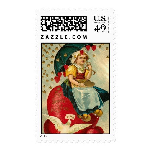 Girl with Valentine Heart Umbrella Postage Stamps