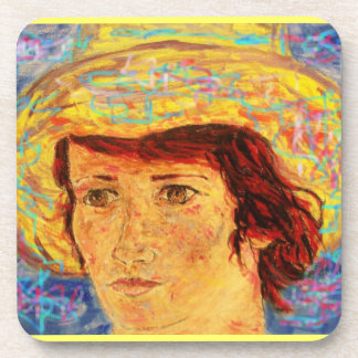 girl with van gogh hat art drink coaster