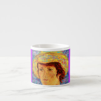 girl with van gogh hat art espresso cup