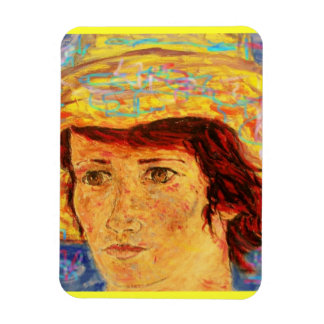 girl with van gogh hat art magnet
