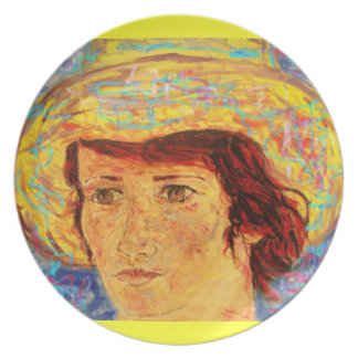 girl with van gogh hat art melamine plate