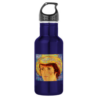 girl with van gogh hat art stainless steel water bottle