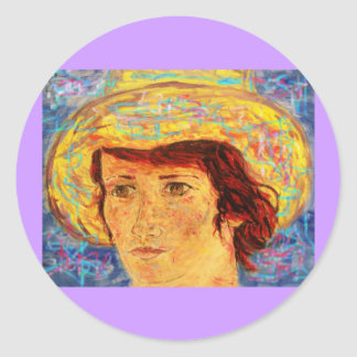 girl with van gogh hat classic round sticker
