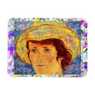 girl with van gogh hat drip magnet