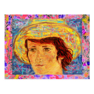 girl with van gogh hat drip postcard