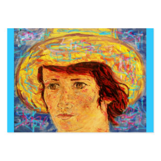 girl with van gogh hat large business card