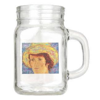 girl with van gogh hat mason jar