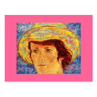 girl with van gogh hat postcard