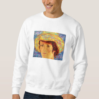 girl with van gogh hat sweatshirt