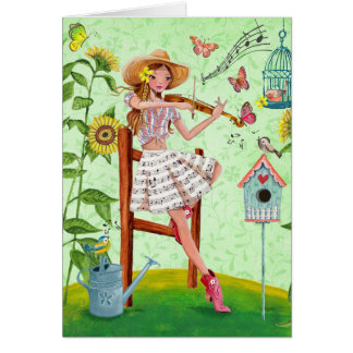 Girl with violin Summer Music | Greeting Card